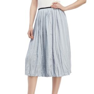 Philosophy Blue Satin Silk Crinkle Midi Skirt